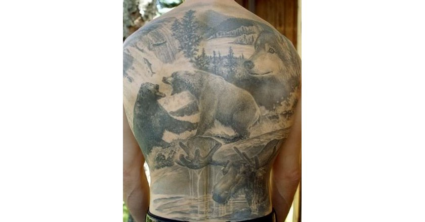 Alaska Hunting Tattoo on Man's Back