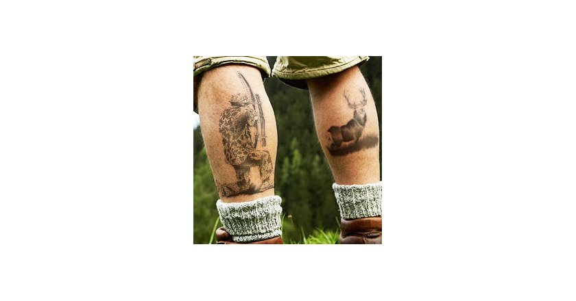 Bowhunting Deer Tattoo on Man's Legs