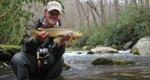 Early spring fly fishing for brown trout with streamers