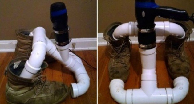 Boot Dryer with PVC Plumbing Supplies