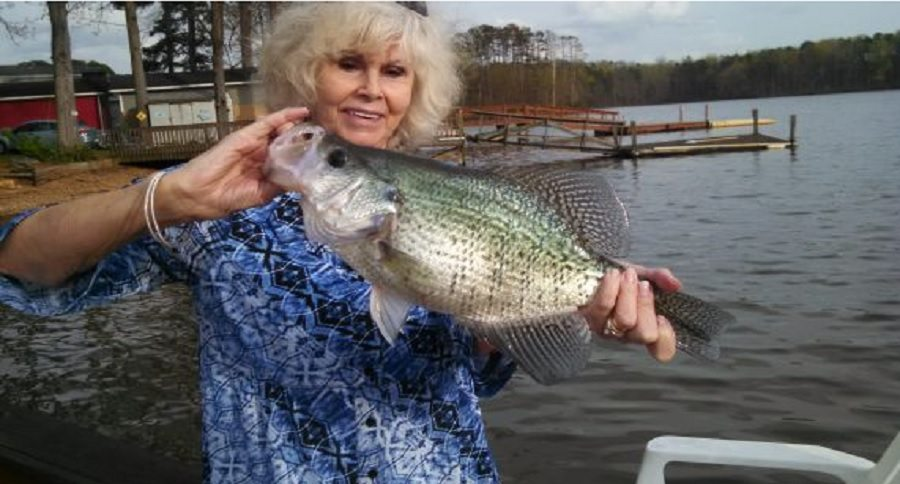 woman catches and releases 4 pound white crappie