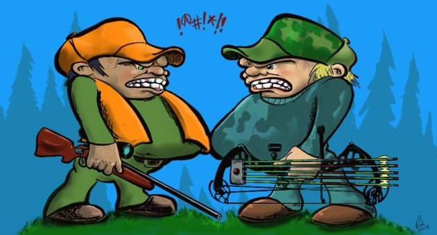 bow hunters gun hunters hate get along mad angry