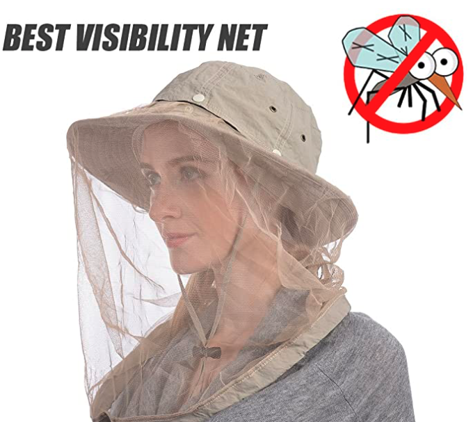 USHAKE Mosquito Head Net Hat, Safari Hat Sun Hat with Hidden Net from Insects
